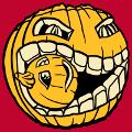 Citrouille d'Halloween croquant une petite citrouille sculptée. Design Halloween 3 couleurs personnalisable.