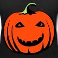 Citrouille d'Halloween souriante à dents pointues et yeux plissés.