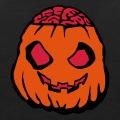 Citrouille zombie, à la cervelle de pulpe, un dessin personnalisé pour Halloween.