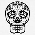 Crâne mexicain dessiné en contours..