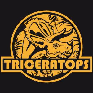 T-shirt dinosaure, tricératops découpé sur logo rond en mode Jurassic Park. Créez un t-shirt dinosaure original.