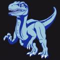 T-shirt dinosaure personnalisable, avec un vélociraptor en pleine course, dessiné en 3 couleurs.