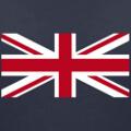 Drapeau anglais vectoriel, partie centrale rouge et blanche à imprimer sur t-shirt bleu.