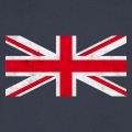 Design union jack vintage, drapeau anglais à texture rock, croix centrale blanche et rouge.