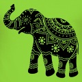 Elephant décoré de motifs classiques indiens floraux.