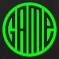 Game, le mot forme un cercle et est découpé dans un rond plein.