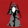 Gandalf stylisé en pixelart, design Seigneur des Anneaux en style retro geek.