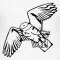 Hedwig, chouette d'Harry Potter, stylisée et dessinée en tracés encrés, en format vectoriel.
