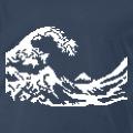Hokusai, version pixels, avec les nuances blanches de l'estampe originale.