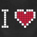 I love geek, barre et cœurs dessinés en pixels séparés par un fin interstice.
