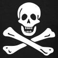 Jolly roger, emblème tête de mort de drapeau pirate.
