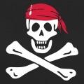 Jolly roger, symbole pirate pour impression blanc sur noir. Emblème tête de mort et os croisés.