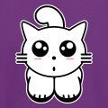 Kitty cat, chaton kawaii stylisé avec grands yeux manga, petit nez et pommettes ovales.