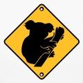 Koala rigolo, panneau routier détourné.