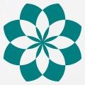 Lotus géométrique fait de portions de cercles entrecroisées, design une couleur.