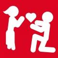 Pictogramme amour et couple avec cœur simple.