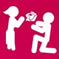Picto amour et couple, avec un pictogramme offrant une rose à sa copine pictogramme.