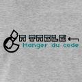 Manger du code, design geek et informatique avec Pacman et typo pixels.
