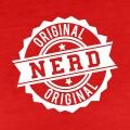Nerd, tampon rond aux bords dentés, avec la mention nerd original.