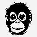 Bébé singe mignon dessiné en une couleur.