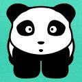 Panda kawaii bouche étonnée et regard attentif.