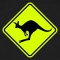 Panneau passage de kangourou, avec un kangourou en plein saut.