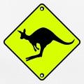 Panneau routier et kangourou qui saute, design 2 couleurs.