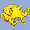 Pieuvre stylisée aux tentacules formant des boucles et ondulations. Créer un t-shirt mer.