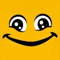 Smiley rigolo aux grands yeux plissés de rire.