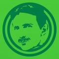 Nikola Tesla, portrait une couleur en médaillon.