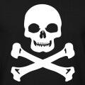 Tête de mort à imprimer sur fond noir ou foncé, aux mâchoires carrées et pommettes anguleuses.
