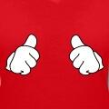 Thumbs up, pouces levés tournés vers l'intérieur du design, motif à personnaliser deux couleurs.