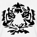 Tête de tigre stylisée dessinée en rayures sombres et découpes.