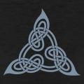 Triangle celtique adapté du livre de Lindisfarne composé de boucles celtes symétriques.