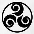 Triskel à trois branches séparées, réparties symétriquement, et entourées d'un cercle.