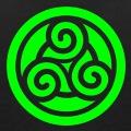 Motif celte décoratif, triskel découpé sur cercle en aplat une couleur.
