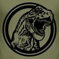 T-rex gueule ouverte sortant d'un cercle, dessin vectoriel à personnaliser.