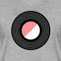 Vinyl stylisé composé de bandes épaisses pour les sillons et aplats en demi cercles pour le centre.