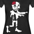 Zombie deux couleurs humoristique, marchant titubant bras tendus.