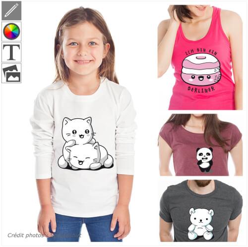 T-shirts kawaii et manga à personnaliser, designs mignons à imprimer en ligne.