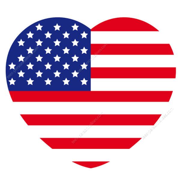 T Shirt Drapeau Americain En Forme De Cœur I Love Usa