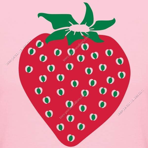 T-shirt fraise stylisée à forme rebondie et gros pépins c28df3f886c