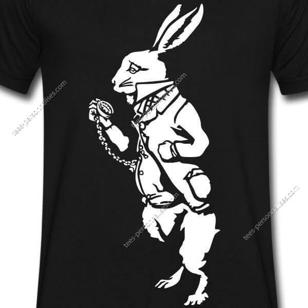 conejo estampado de Camiseta negro sobre blanco lFK3Tc1J