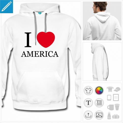 sweat-shirt homme Amérique à créer soi-même