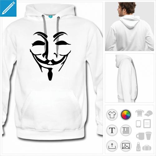 hoodie homme anonymous à personnaliser en ligne