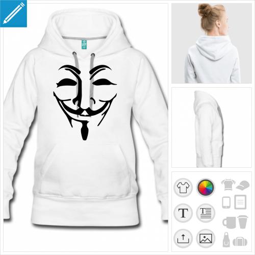 hoodie pour femme anonymous à personnaliser