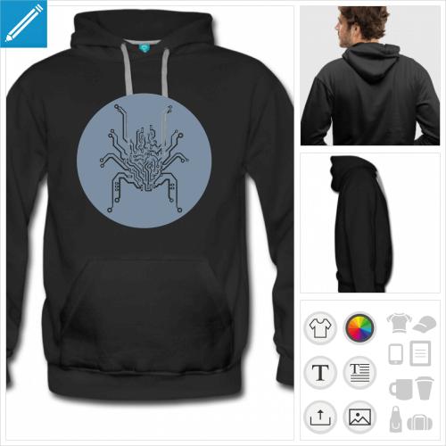 hoodie noir araignée circuit à personnaliser