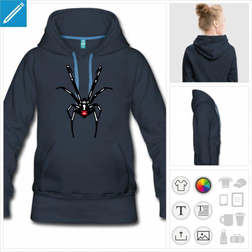 hoodie bleu marine araignée à personnaliser et imprimer en ligne