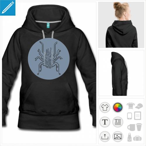 hoodie femme circuit imprimé à imprimer en ligne