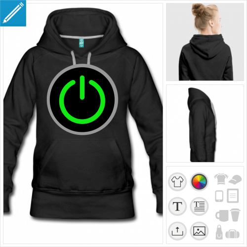 hoodie bouton on personnalisable, impression à l'unité